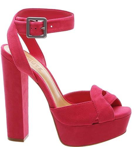 3ef741e42ae SCHUTZ Eriks Rose Pink Suede Cross Ankle Strap Peep Toe High Platform Sandal