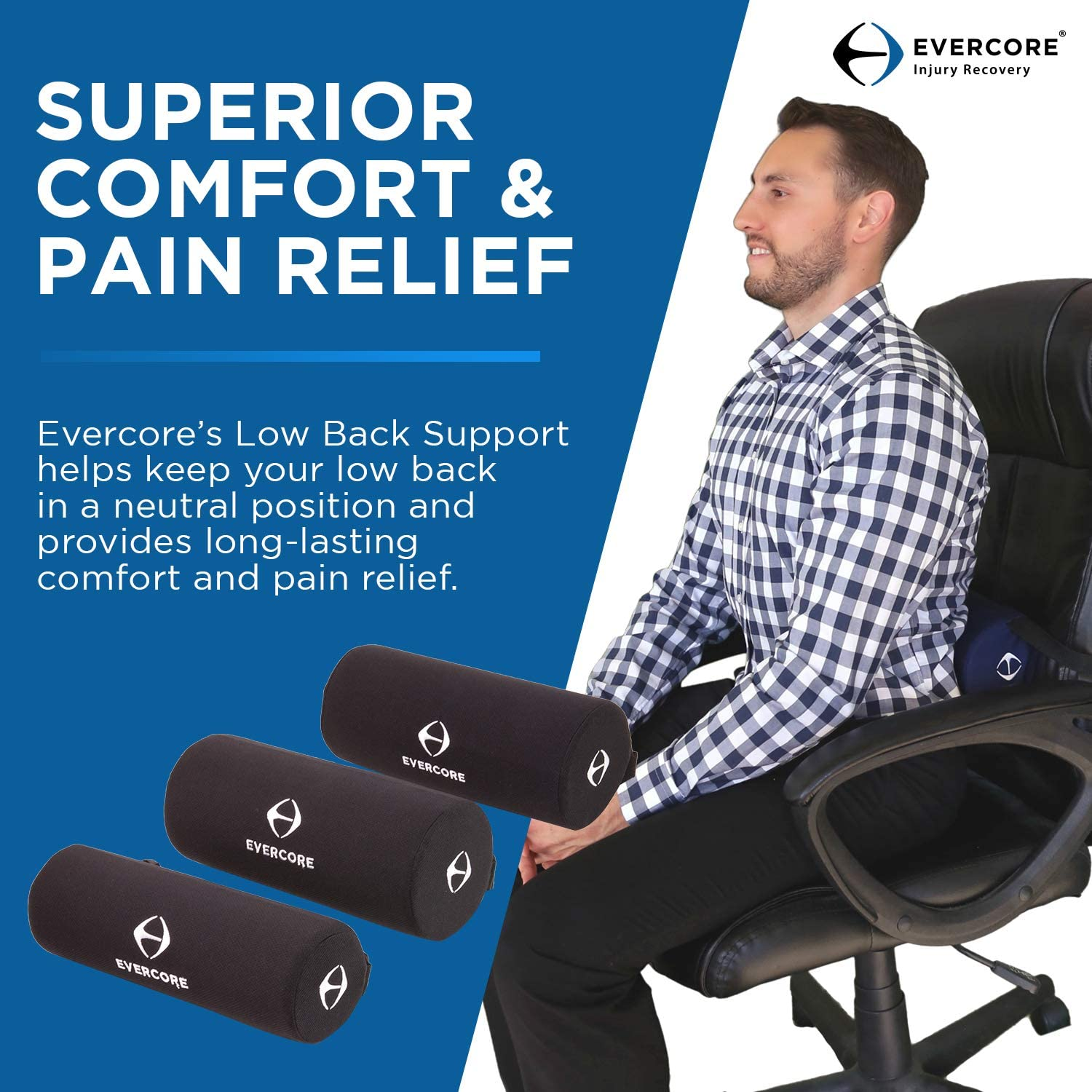 Evercore Low Back Support – Lumbar Roll – Small or Medium – Ergonomic Design, Maintains Shape Overtime, Helps Improve Posture