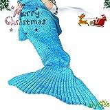 Lana Sirena Coperta a Coda a Forma di Sirena, Utilizzabile Come Coperta per Divano Letto, Adulti (180 * 90cm),Blu