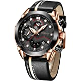 Mans Watch Waterproof Sports Quartz-SUNVEN Watches for Men Water Resistant 30M Black Leather Strap Chronograph and…