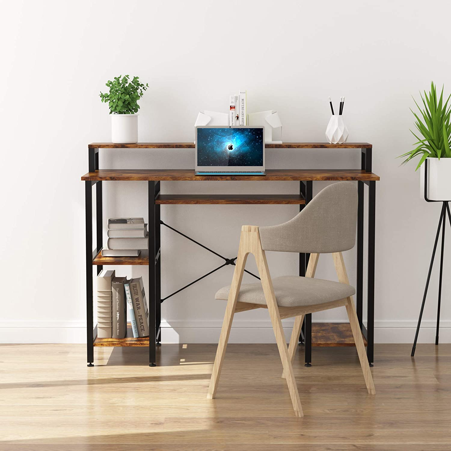 oneinmil Computer Desk with Hutch, Home Office Table with Keyboard Tray, Rustic Brown Compact Writing Desk with Open Shelves