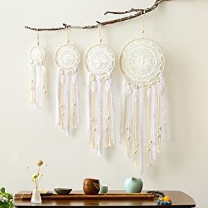 HiPlus 4 PCS BOHO Handmade White Feather Native Macrame Dream Catchers,Wedding Party Favor,Nursery Decor,Baby Shower,Birthday Gift,Bedroom Wall Ornaments Car Hanging Decoration
