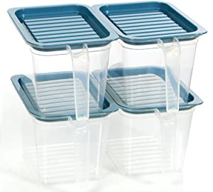 Food storage containers bins with Handle Lids, 1 Qt 4 pieces stackable Set of 4 BPA Free. Pantry bins for kitchen refrigerators. Keep meal cereal flour sugar (Blue)