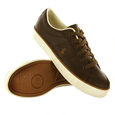 Polo Dark Ralph Trainers Lauren Size Brown Leather Bolingbrook Mens xdCorBe