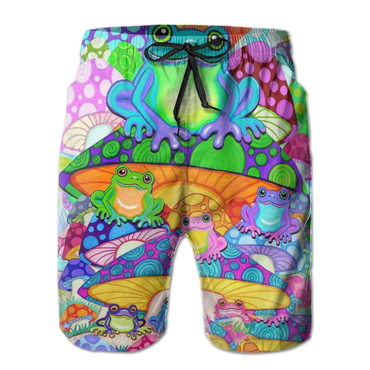WMDJEG Mushroom Frogs Mens Summer Beachwear Sports Running Swim Board Shorts Mesh Lining