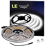 LE 16.4ft Waterproof Flexible LED Light Strip, 300 Units SMD 2835 LED, 6000K Daylight White, LED Tape, 12V LED Light Strips, For Gardens/ Homes/ Kitchen/ Cars/ Bar