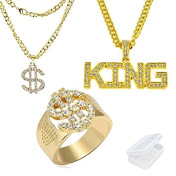 Funnyrunstore Anillo de Sello Personalizado Crystal Bling Rhinestone Anillo de aleaci/ón de Oro Anillo de Dedo de Moda para Hombre Hip Hop Jewelry tama/ño 8
