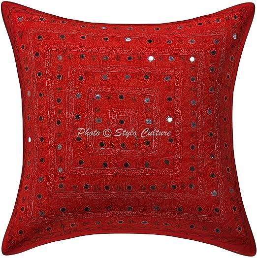 Stylo algodón de Cultura de cojín étnico Bordado de Encaje de Espejo 16x16 Rojo Funda de Almohada geométrica: Amazon.es: Hogar
