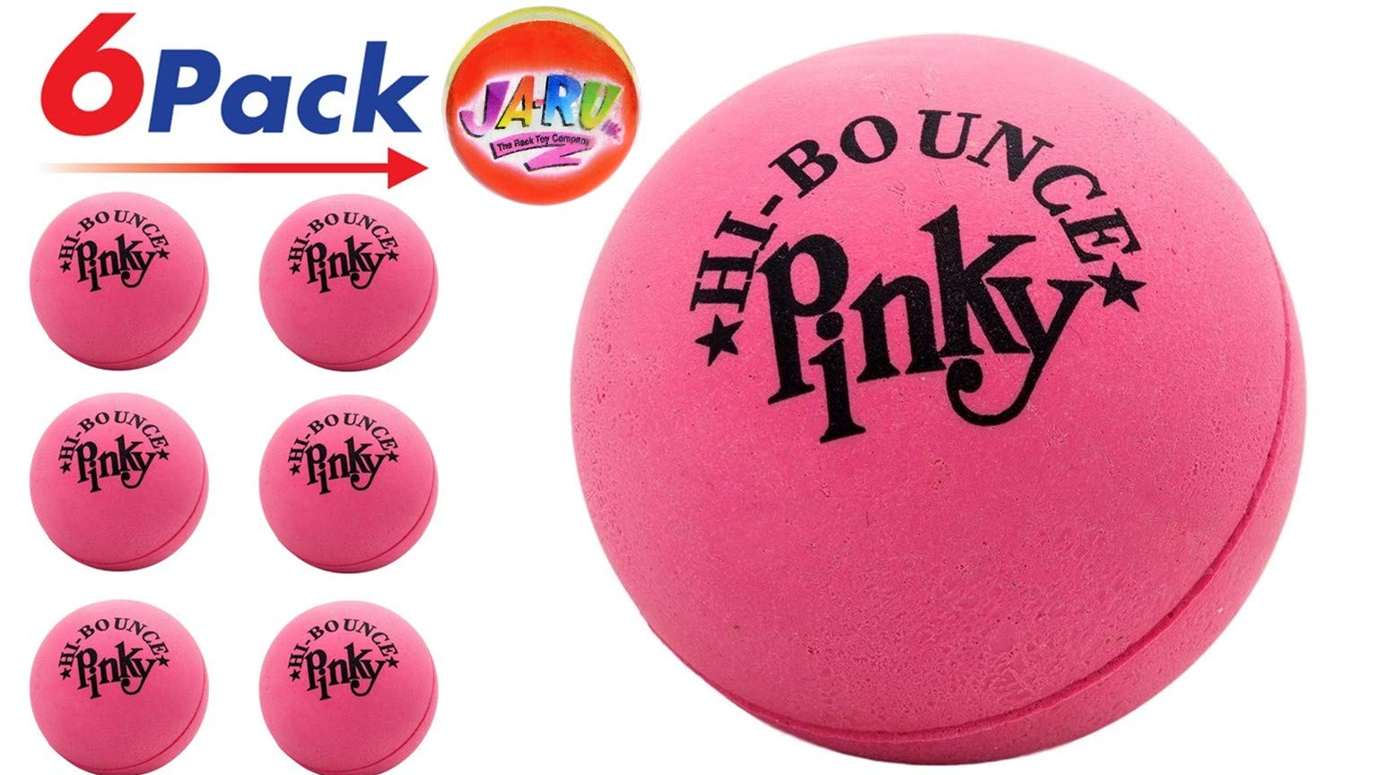 Pinky Ball (Pack of 6) 2.5'' Hi Bounce Large Pink Rubber Balls for Play or Massage Therapy. Plus 1 Small JA-RU Ball. #976-6p by JaRu