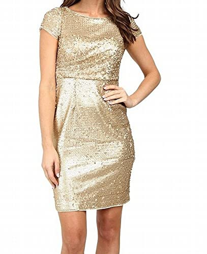 Adrianna Papell Women's Short Sleeve Draped All Over Sequin Cocktail Dress