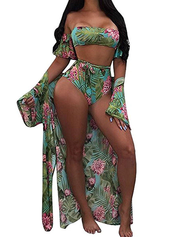 ffd725d1fcc Women New Fashion Colorful Off Shoulder Bikini Set Beachwear with Kimono Cover  Ups 3 Piece Swimsuit