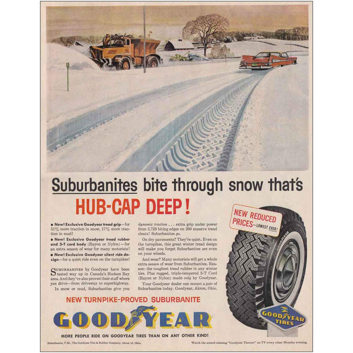 Winter Tires Snow Tires Goodyear Tires Canada >> Amazon Com Relicpaper 1959 Goodyear Tire Suburbanites Bite