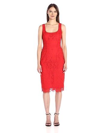Anne Klein Women's Crochet Lace Sheath Dress, Tomato, 2
