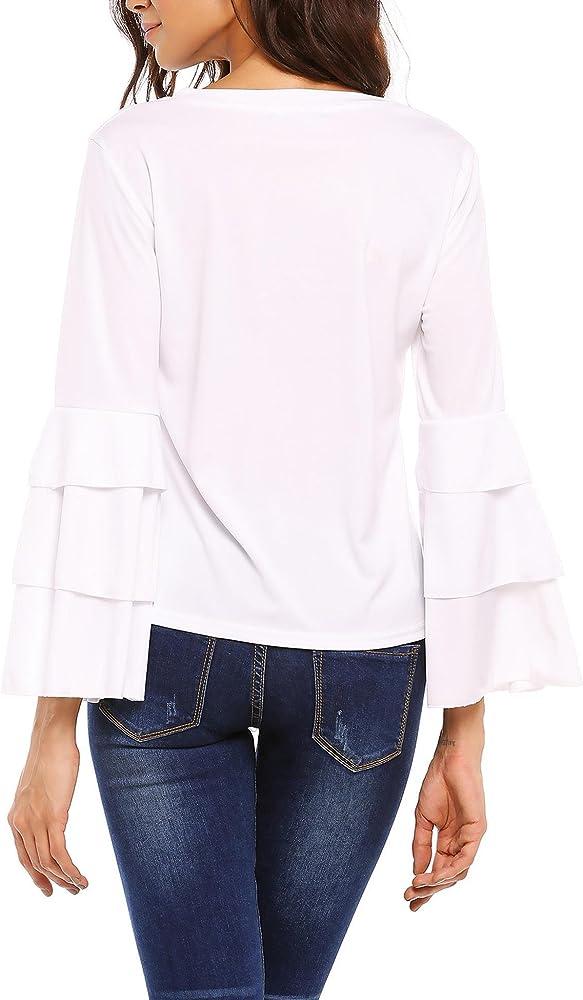 Meaneor Camiseta Mujer Manga Larga Volante Camisa Cuello Redondo Blusa Elegante: Amazon.es: Ropa y accesorios