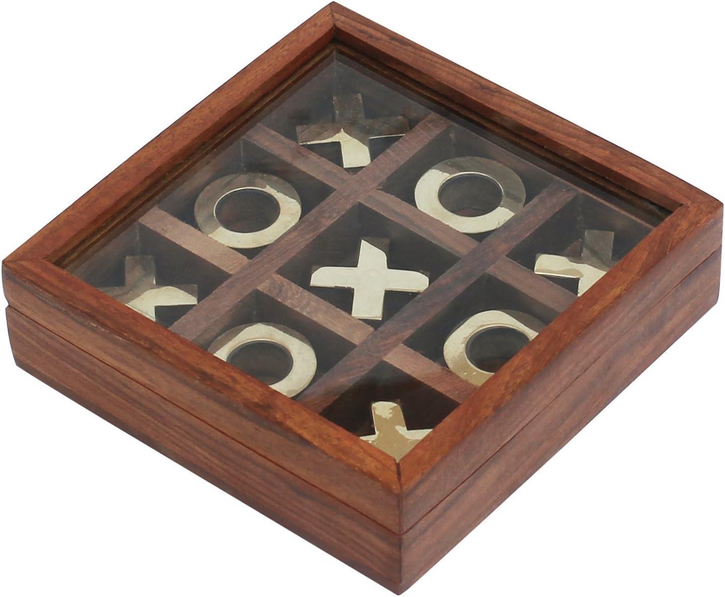 Juego de mesa de madera Tic Tac Toe - Caja de almacenamiento de turrones y cruces de metal con tapa de vidrio - Mesa / escritorio / piso únicos / juego de interior: Amazon.es: Hogar