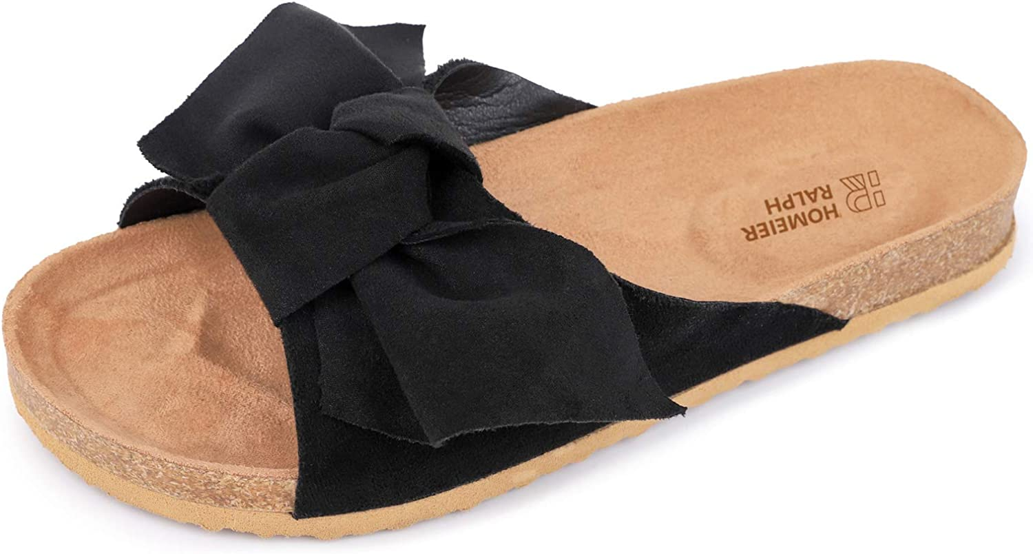 Homeier Ralph Women's Cute Suede Bow Sandal Soft Open Toe Slide Slippers with Cork Sole