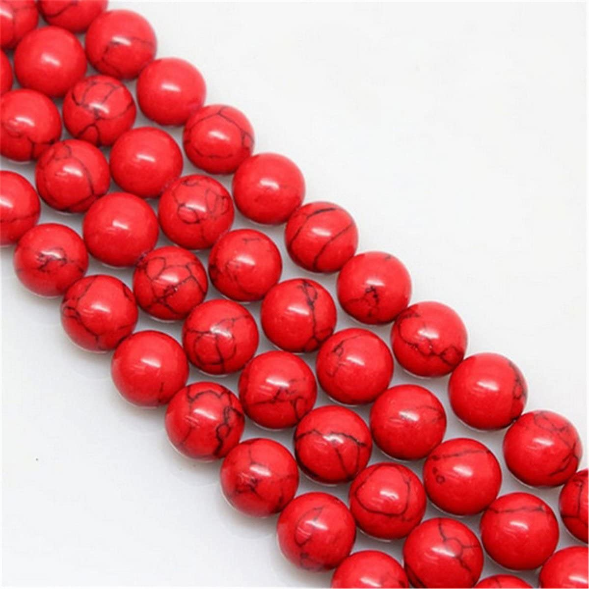 Red GraceAngie 1 Strand Round Smooth Turquoise Gemstone 8mm Loose Beads approx 48pcs Energy Stone Healing Power for Jewelry Making