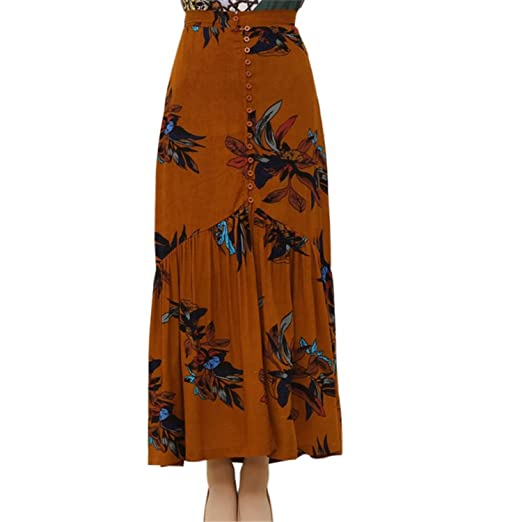 a68e0f8aab JIANGTAOLANG Women Vintage Floral Print Long Beach Maxi Boho High Waist  Asymmetrical Printed Skirts at Amazon Women's Clothing store: