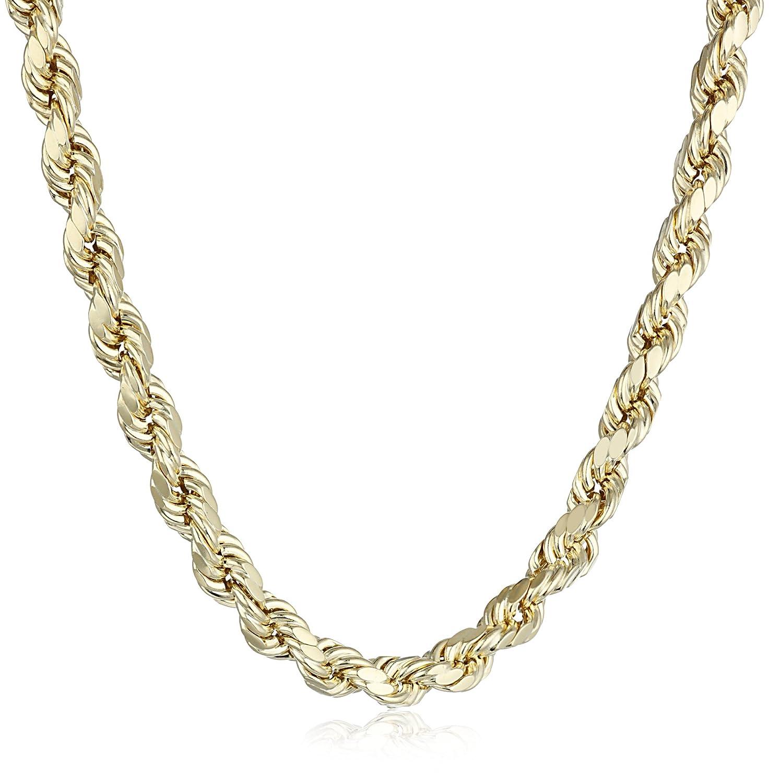 Mens 14k yellow gold 55mm hollow diamond cut rope chain necklace mens 14k yellow gold 55mm hollow diamond cut rope chain necklace 24 amazon mozeypictures Images