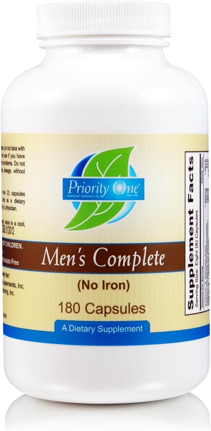 Priority One Vitamins Men's Complete 180 Capsules - Broad Spectrum Multi Vitamin and Mineral Supplement formulated for Men's Overall Health and Wellbeing.*