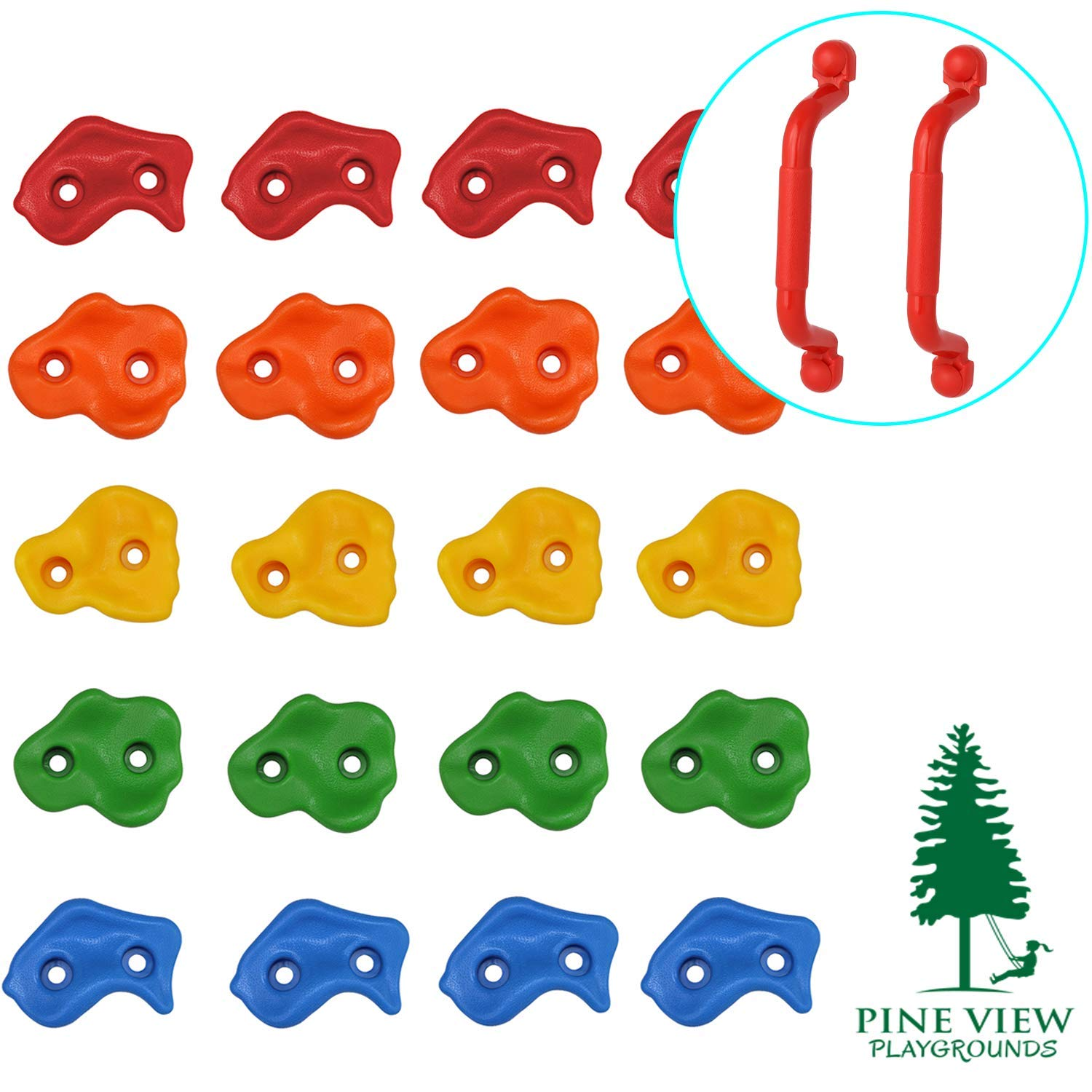 Pine View Playgrounds Kids Premium Rock Climbing Holds with Safety Handles | Extended 2 Inch Mounting Hardware for Childrens Playground Rock Wall | Playset Installation Guide Included by Pine View Playgrounds
