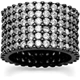 Brass Hematite Plated Multirow Clear CZ Band