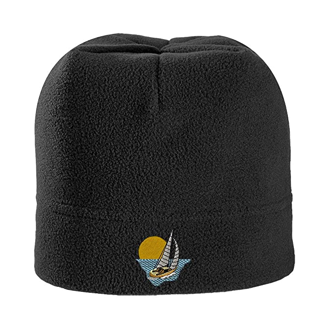 7aa2e2ea Speedy Pros Sail Boat Style 1 Embroidered Unisex Adult Polyester/Spandex  Stretch Fleece Beanie Winter