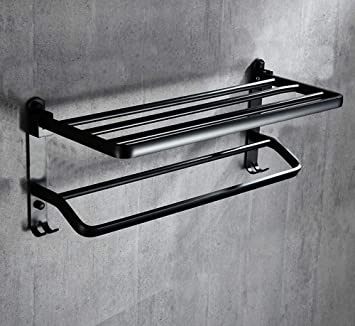 Perchero libre Toallero,Negro/Espesar/Doble palo/Aluminio ...