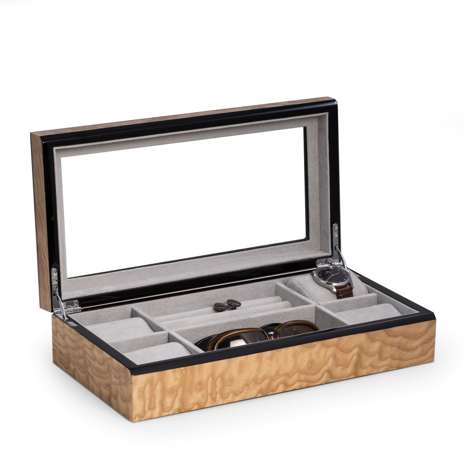 Time Factory AJ-BB691BRL Lacquered ''Burl'' Wood Valet / Jewelry Box with Glass Top and Soft Velour Lining, Ash Burl