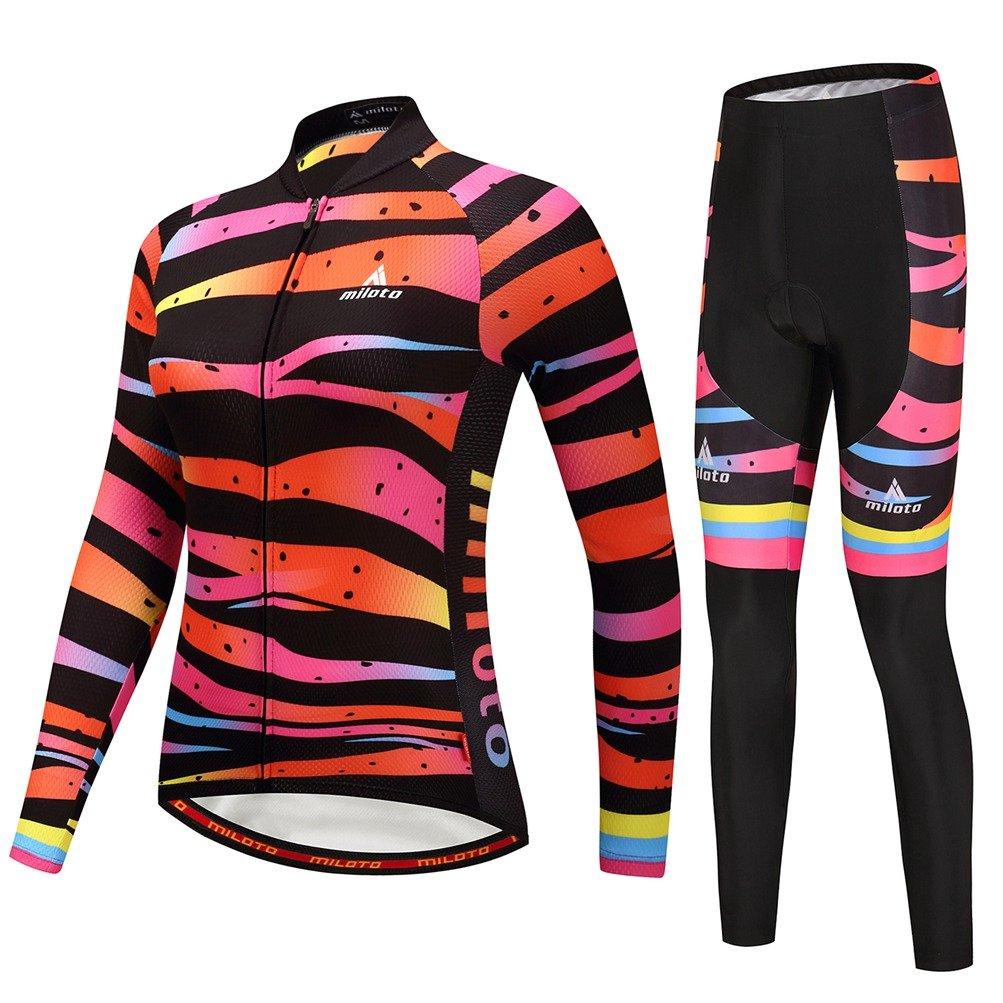Uriahレディースサイクリングジャージーとパンツセット長袖反射 B07H5KB263 Chest 50.4''=Tag 5XL|Zebra Lines Zebra Lines Chest 50.4''=Tag 5XL