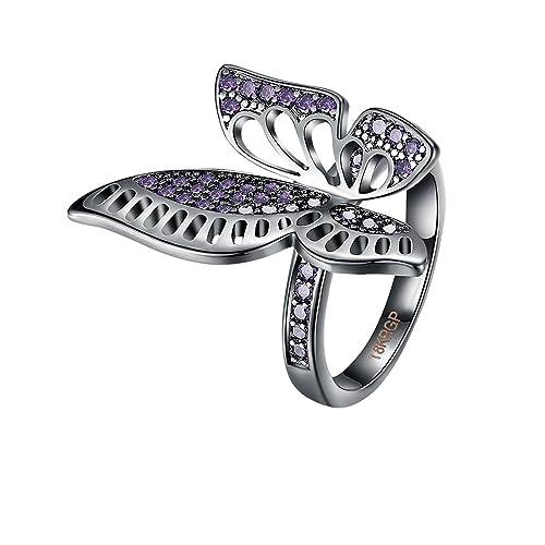 AieniD Anillo para Mujer Circón Piedra Preciosa Cristal Mariposa Forma: Amazon.es: Joyería