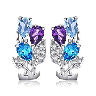 4ba9621ab 2.7ct Natural Amethyst Sky Blue Topaz Swiss Blue Topaz 3 stone 925 Sterling  Sliver Hoop Earrings Set: Amazon.co.uk: Jewellery