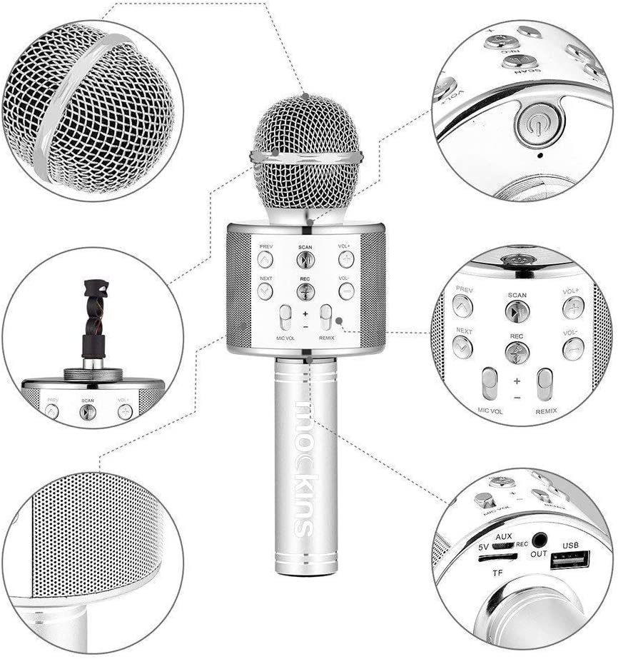 Compatible with Android /& iOS iPhone Mockins 2 Pack Silver Color Wireless Bluetooth Karaoke Microphone with Built in Bluetooth Speaker All-in-One Karaoke Machine