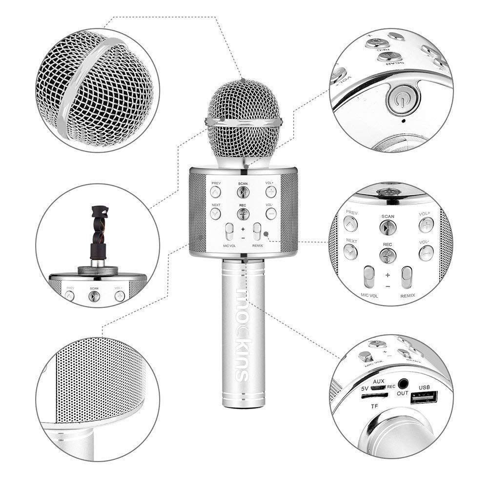 Mockins Premium Wireless Portable Handheld Bluetooth KARAOKE MICROPHONE Compatible with Android & IOS Apple - Silver ... ... ... ... ... by Mockins (Image #7)
