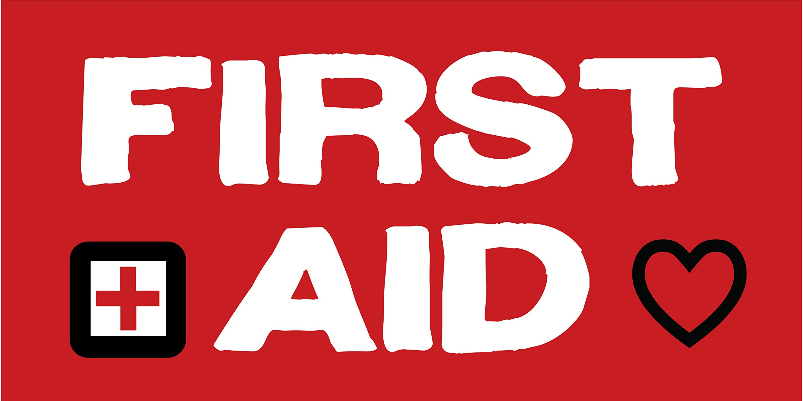 Pre-Printed - First Aid Banner - Red5 (10' x 5') by Reliable Banner Sign Supply & Printing