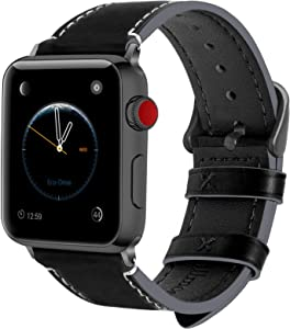 Fullmosa Compatible Apple Watch Band 44mm 42mm 40mm 38mm Leather for iWatch SE & Series 6/5/4/3/2/1, 42mm 44mm Black + Smoky Grey Buckle