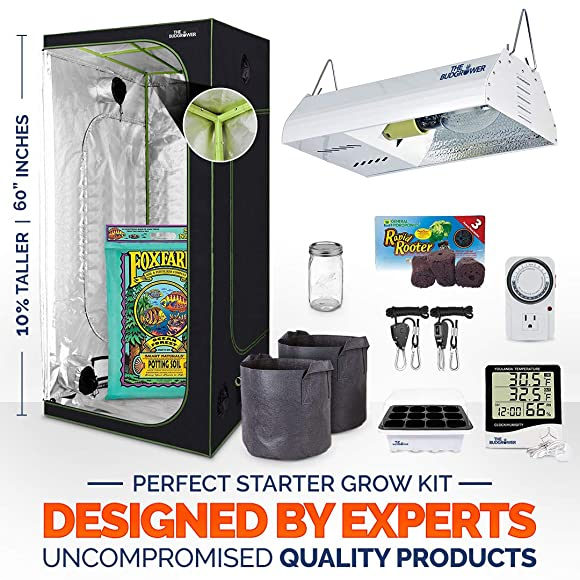24 x24 x60 Indoor Grow Tent Extra tall Hulk Series 150W HPS Full Spectrum Light unit Premium Soil Hangers Seedling Dome TempHygrometer 24-Hour Time Cloth pots Soil pods Form Jar