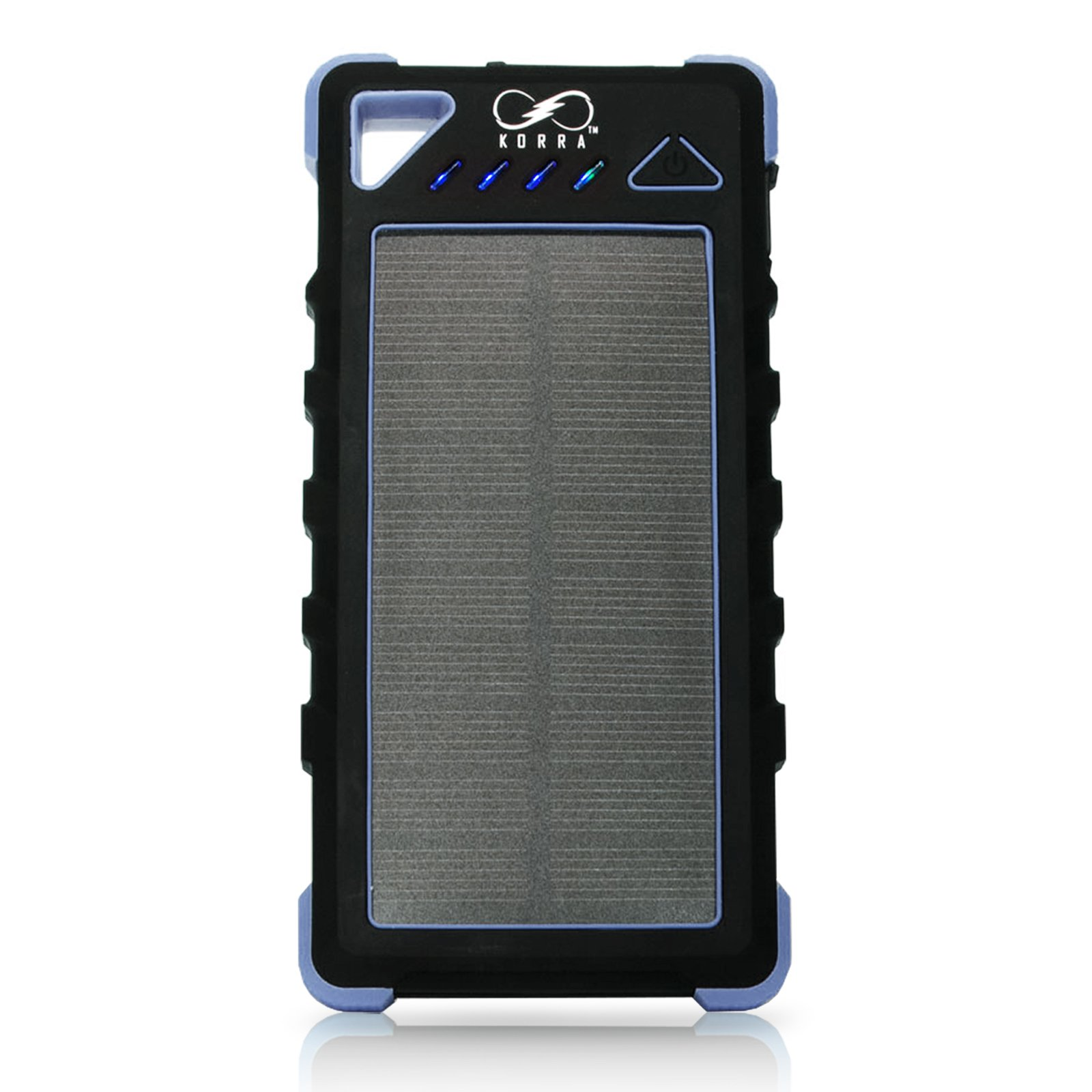Korra 16K Solar Power Bank (Blue)   Portable 16,000mAh Dual USB Solar Charger   IP67 Waterproof External Battery Pack   LED Flashlight with S.O.S.   Perfect for Outdoorsmen, Apple, Samsung and More