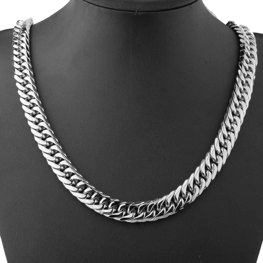 Cuban Link Chain for Men 9//11//13//16//19//21mm 7-40inches Silver Stainless Steel Necklace for Men Cuban Link Bracelet GZMZC Silver Chain for Men