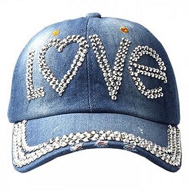 55d13abde87 Women s Distressed Denim Baseball Cap with  Love  Diamante Embellishment