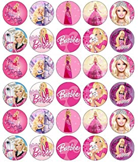 30 X Edible Cupcake Toppers Barbie Themed Collection Of Cake Decorations For Girls