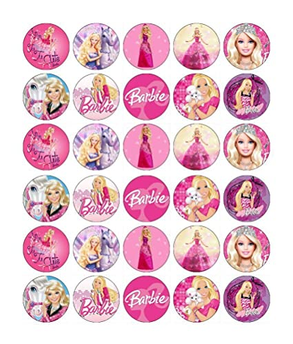 Amazon 30 X Edible Cupcake Toppers Barbie Themed Collection