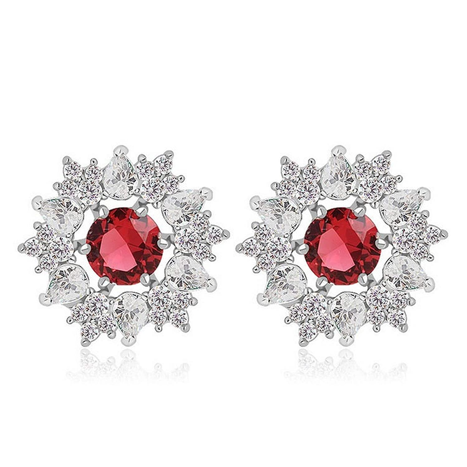 Silver Earrings By CS-DB Waterdrop Round Clear Red Cubic Zircon Big Shild Stud Earrings For Womens