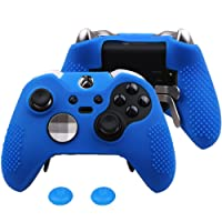 Pandaren Silicone rubber cover skin case anti-slip STUDDED Customize for Xbox One ELITE controller x 1 Blue + thumb grips x 2