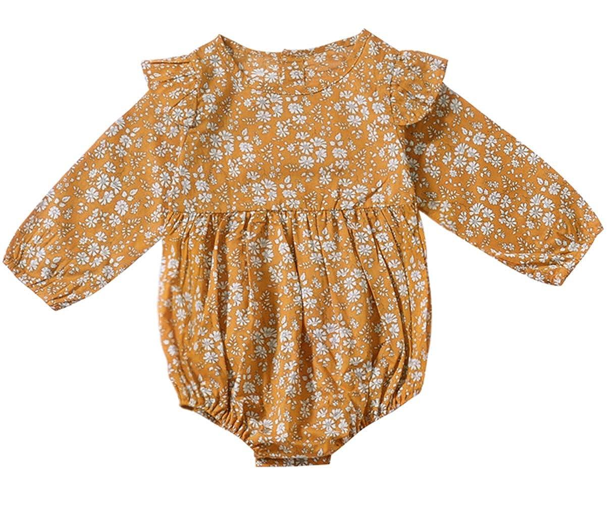 732348e1e7e1 Amazon.com  SWNONE Newborn Baby Girls Floral Print Long Sleeve Round Neck  Vintage Romper Infants Ruffles Jumpsuit  Clothing