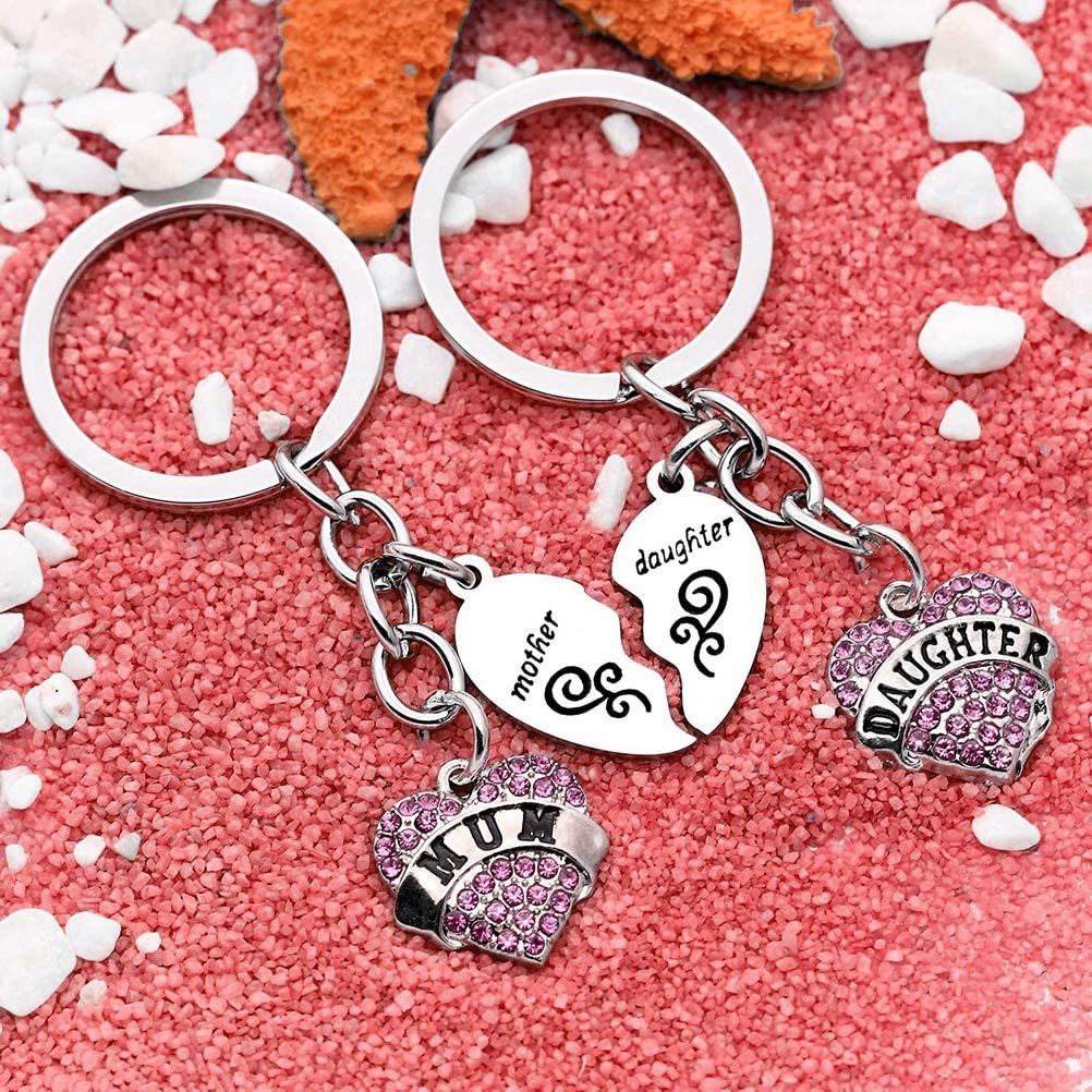 Love Heart Keyring Set for Women Lady Girl Gift Pink kuou 2 Pcs Heart Mother Keychain