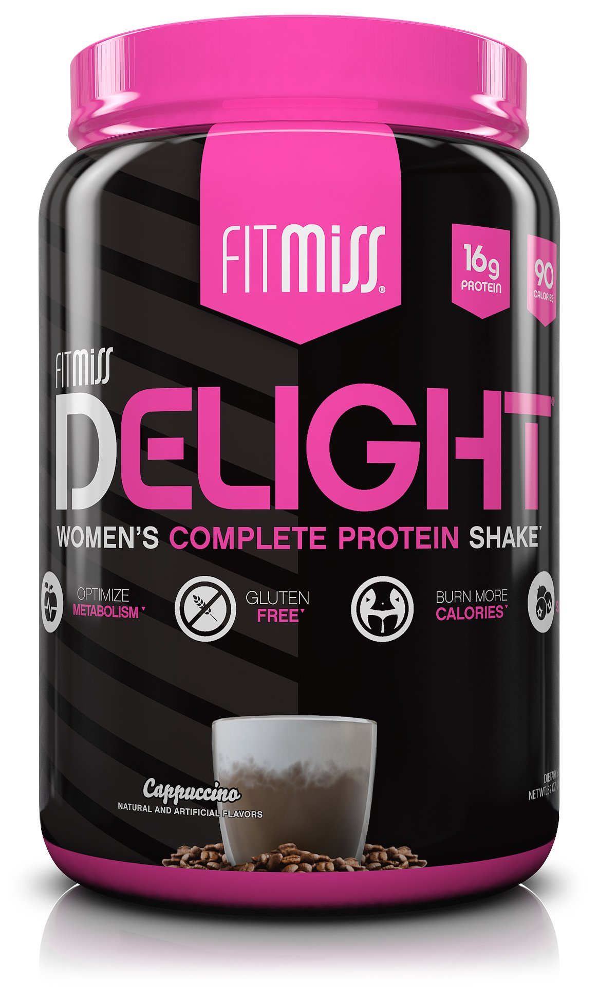 FitMiss Delight Protein Powder, Healthy Nutritional Shake for Women, Whey Protein, Fruits, Vegetables and Digestive Enzymes, Support Weight Loss and Lean Muscle Mass, Cappuccino, 2-Pound