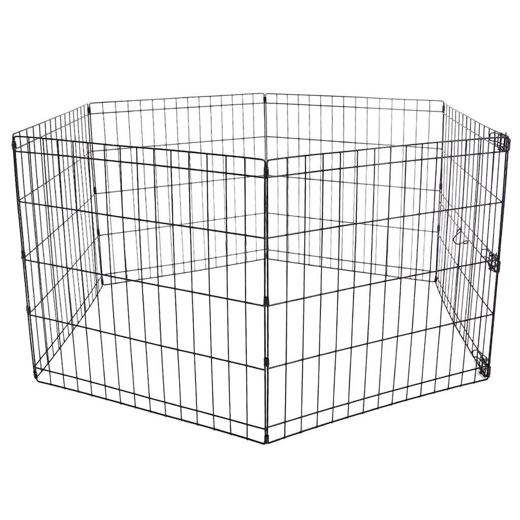 Large Pet Barrier Fence Exercise Metal Playpen Kennel, Heavy Duty Portable Dog Cat Animal Playpen, Black, 6 Panel