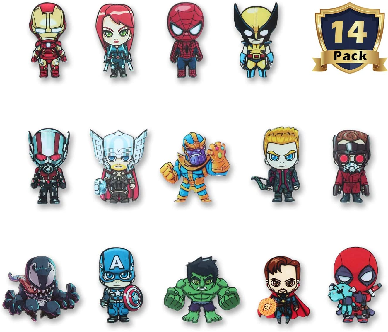 HXDZFX The Avengers 14PCS Refrigerator Magnets - Marvel Heroes Fridge Magnets Set - Marvel Characters - Final Battle Perfect Decorative Magnet