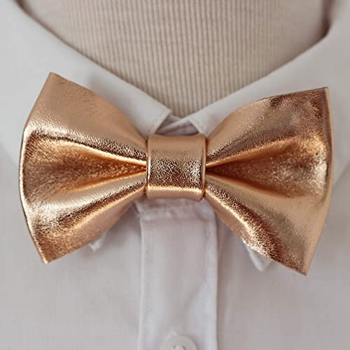 64b9920e9fac Amazon.com: Rose gold bow tie for men, wedding, pretied genuine leather  bowtie, prom, boys: Handmade